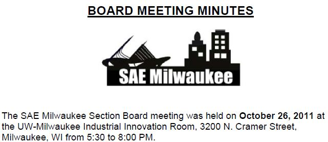 October 2011 Board Meeting Minutes