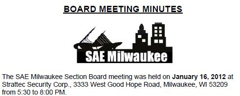 January 2012 Board Meeting Minutes